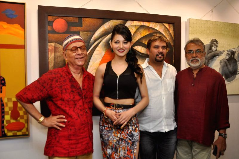 Actor Urvashi Rautela during the inauguration of an art exhibition at J S Art gallery in Mumbai, on May 14, 2014.