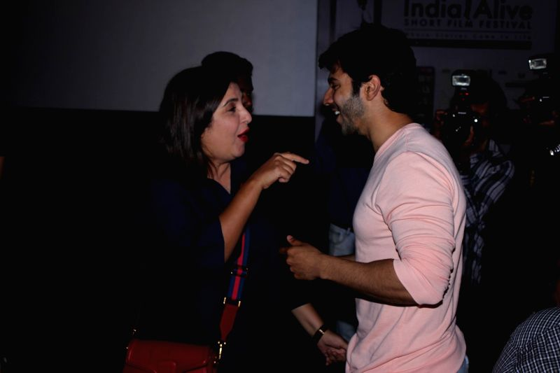 Actor Varun Dhawan and Farah Khan during the opening ceremony of India alive Short Film Festival 2017 in Mumbai, on May 30, 2017. - Varun Dhawan and Farah Khan