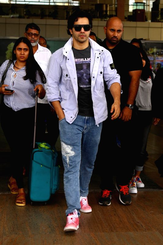 Actor Varun Dhawan arrives in Jaipur, on July 14, 2018. - Varun Dhawan