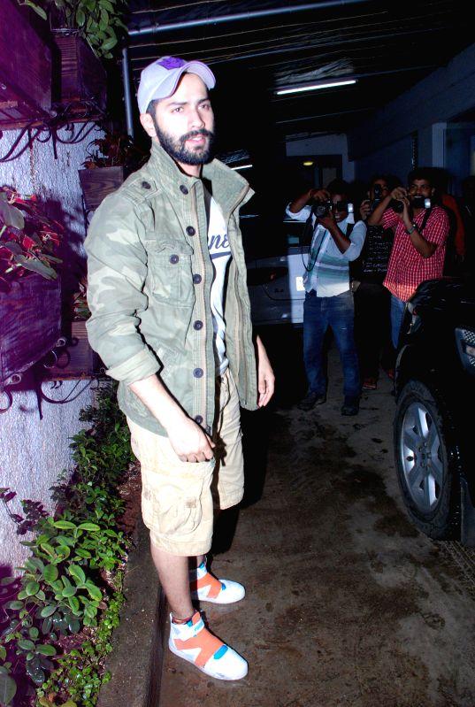 Actor Varun Dhawan during the screening of the film Entertainment in Mumbai on Aug 6, 2014. - Varun Dhawan