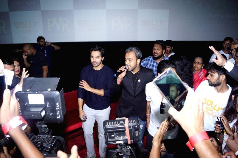 "Actor Varun Dhawan greets his fans during screening of film ""October"" in Mumbai on April 13, 2018. - Varun Dhawan"