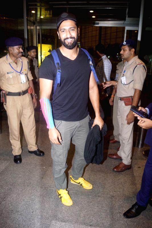 Actor Vicky Kaushal Khan seen at Chhatrapati Shivaji International Airport in Mumbai on July 11, 2018. - Vicky Kaushal Khan