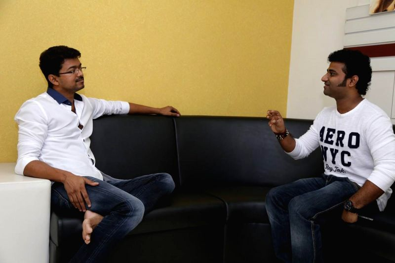 Actor Vijay releasing the Promo Video Song of Devi Sri Prasad`s US and Canada Musical Tour in Chennai on June 21, 2014.