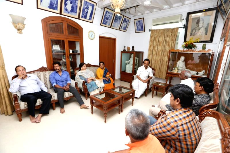 Actor Vikram visits DMK President M. Karunanidhi's resident, in Chennai, on July 27, 2018. M. Karunanidhi (94) is suffering from urinary tract infection and is being treated at home. - Vikram