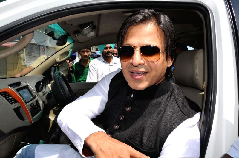 Actor Vivek Oberoi during a BJP roadshow in Amritsar on April 17, 2014.