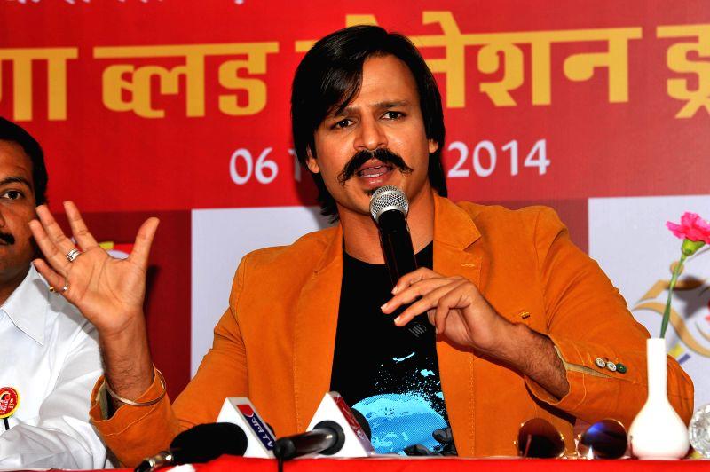 Actor Vivek Oberoi during a press conference regarding a `Mega Blood Donation Drive` of Akhil Bhartiya Terapanth Yuvak Parishad in Jaipur on Aug 27, 2014. - Vivek Oberoi