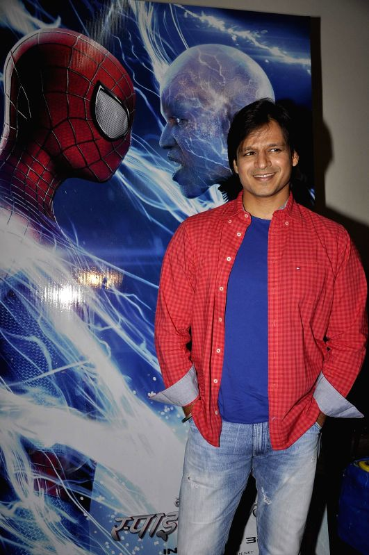 Actor Vivek Oberoi during a special screening of Hollywood film The Amazing Spiderman 2 in Mumbai on May 12, 2014. - Vivek Oberoi