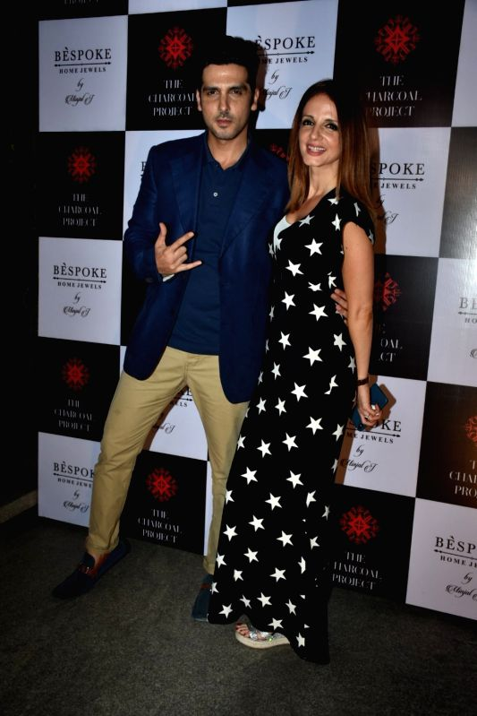 Actor Zayed Khan along with his sister Sussanne Khan at a store launch in Mumbai on April 13, 2018 . - Zayed Khan and Sussanne Khan