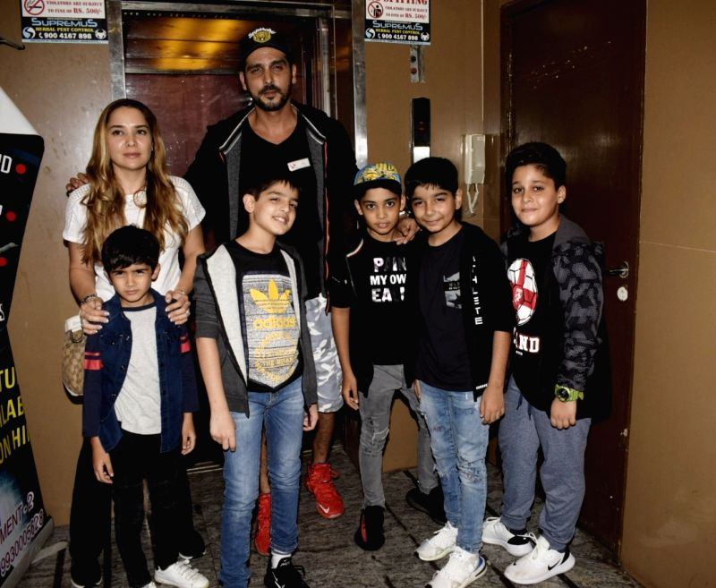 Actor Zayed Khan along with his wife Malaika Parekh seen at a cinema theatre in Juhu, Mumbai on July 20, 2018. - Zayed Khan