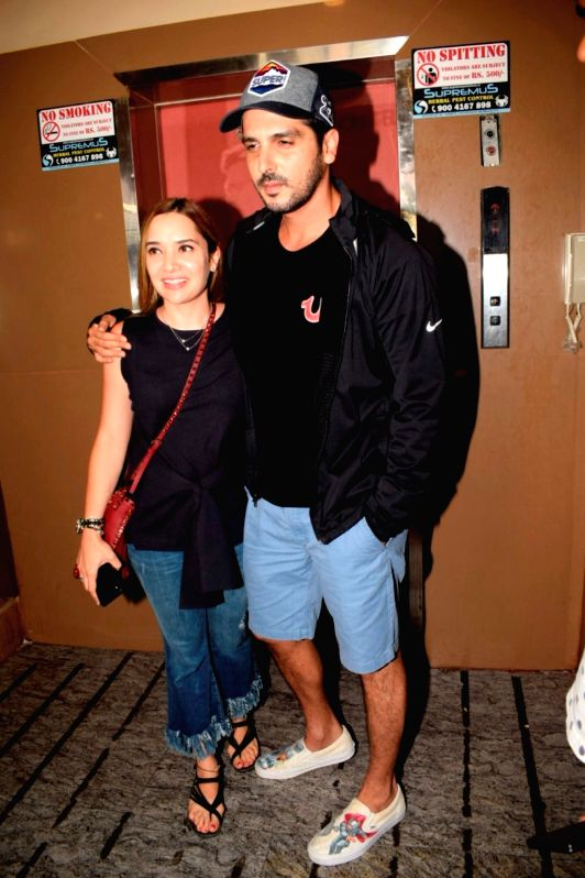 Actor Zayed Khan with his wife Malaika Parekh seen at a cinema theatre in Juhu, Mumbai on July 13, 2018. - Zayed Khan