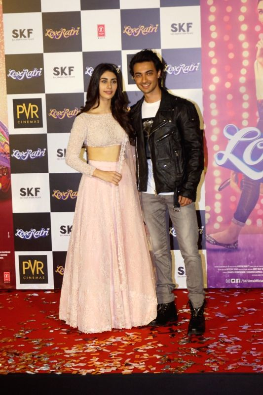 "Actors Aayush Sharma and Warina Hussain at the trailer launch of their upcoming film ""Loveratri"" in Mumbai on Aug 6, 2018. - Aayush Sharma and Warina Hussain"