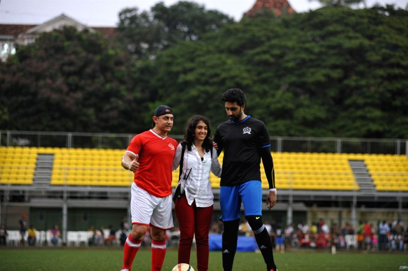Actors Abhishek Bachchan, Aamir Khan, Dino Morea, Hrithik Roshan and Kunal Kapoor in action during the celebrity football match organized by by Aamir Khan`s daughter Ira Khan at Cooperage ground in .. - Abhishek Bachchan, Aamir Khan, Dino Morea, Hrithik Roshan and Kunal Kapoor