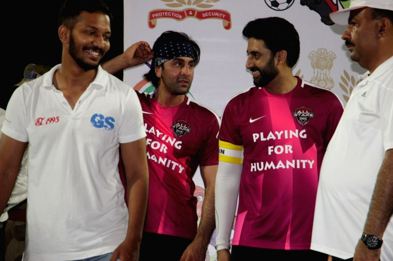 Actors Abhishek Bachchan and Ranbir Kapoor in action during the football match between Bollywood Stars v/s CISF on the occasion of closing ceremony of Oorja-CAPF U- 19 Football Talent Hunt ... - Abhishek Bachchan and Ranbir Kapoor