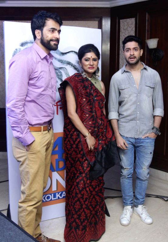 Actors Abir Chatterjee and Bikram Chatterjee during a programme organised to launch new logo of Radio One's Next Nandini in Kolkata, on April 28, 2017. - Abir Chatterjee and Bikram Chatterjee