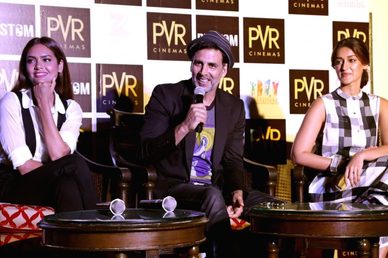 "Actors Akshay Kumar, Ileana D'Cruz and Esha Gupta during the promotion of their upcoming film ""Rustom"" in New Delhi on Aug 8, 2016. - Akshay Kumar, Ileana D'Cruz and Esha Gupta"