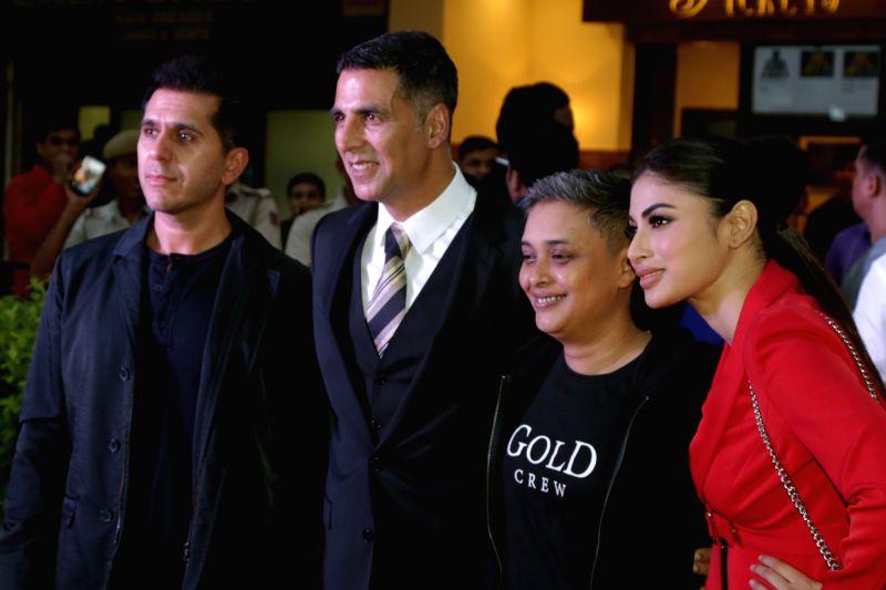 "Actors Akshay Kumar, Mouni Roy and filmmakers Ritesh Sidhwani and Reema Kagti at the promotions of their upcoming film ""Gold"", in New Delhi on Aug 12, 2018. - Akshay Kumar and Mouni Roy"