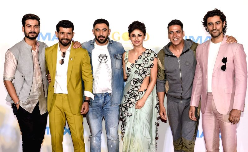"Actors Akshay Kumar, Mouni Roy, Vineet Kumar Singh, Amit Sadh, Kunal Kapoor and Sunny Kaushal at the IMAX trailer and poster launch of their upcoming film ""Gold"" in Mumbai on August ... - Akshay Kumar, Mouni Roy, Vineet Kumar Singh, Amit Sadh, Kunal Kapoor and Sunny Kaushal"