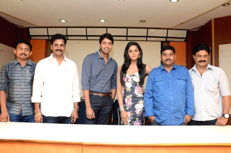 Actors Allari Naresh, Monal Gajjar and Karthika during a press meet of their untitle film in Hyderabad. - Allari Naresh, Monal Gajjar and Karthika
