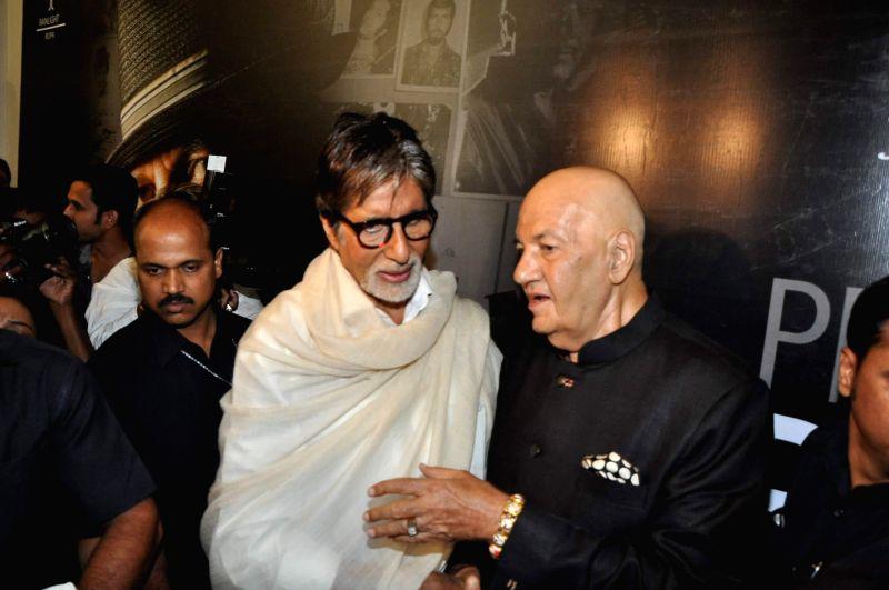 Actors  Amitabh Bachchan and Prem Chopra during the launch of Prem Chopra's autobiography, Prem Naam Hai Mera.. Prem Chopra, written by Rakita Nanda at JW Marriott in Mumbai on April 12, 2014. - Amitabh Bachchan