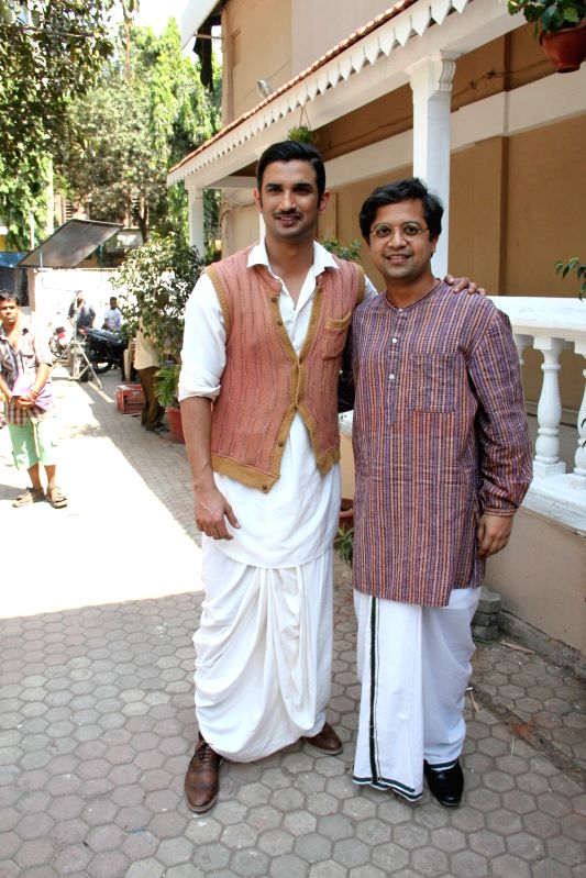 Actors Anand Tiwari and Sushant Singh Rajput during the promotion of the Film Detective Byomkesh Bakshy on the set of CID in Mumbai on March 30, 2015. - Anand Tiwari and Sushant Singh Rajput