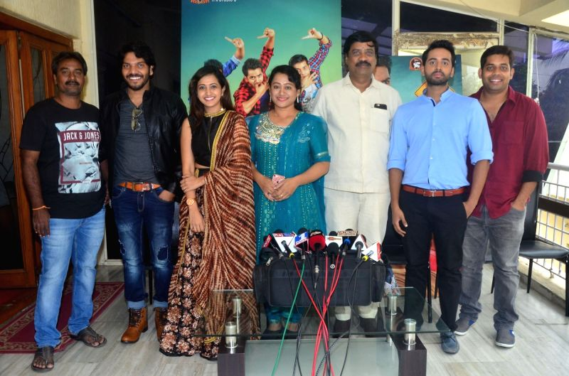 "Actors Anchor Lasya, Hemanth Menon and singer Noel Sean during pressmeet of Telugu film ""Raja Meeru Keka"". - Anchor Lasya and Hemanth Menon"