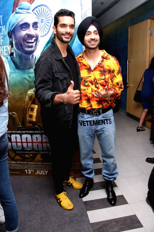 "Actors Angad Bedi and Diljit Dosanjh at the screening of "" Soorma"" in Mumbai on July 13, 2018. - Angad Bedi and Diljit Dosanjh"