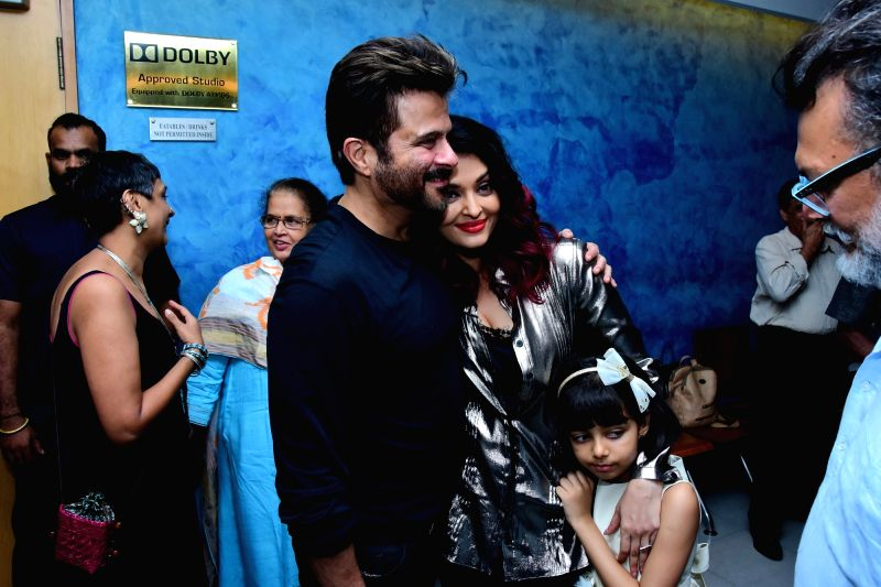 "Actors Anil Kapoor and Aishwarya Rai Bachchan along with her daughter Aaradhya Bachchan at the special screening of film ""Fanney Khan"" in Mumbai on Aug 2, 2018. - Anil Kapoor, Aishwarya Rai Bachchan, Aaradhya Bachchan and Fanney Khan"