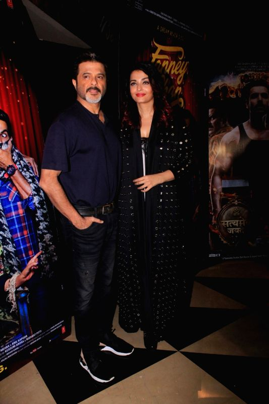 """Actors Anil Kapoor and Aishwarya Rai Bachchan at the special screening of their upcoming film """"Fanney Khan"""" in Mumbai on July 31, 2018. - Anil Kapoor, Aishwarya Rai Bachchan and Fanney Khan"""