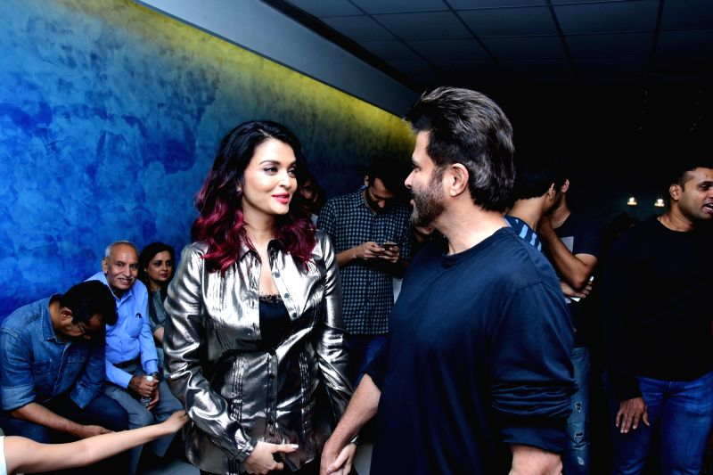 """Actors Anil Kapoor and Aishwarya Rai Bachchan at the special screening of their film """"Fanney Khan"""" in Mumbai on Aug 2, 2018. - Anil Kapoor, Aishwarya Rai Bachchan and Fanney Khan"""