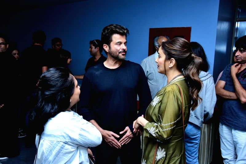 "Actors Anil Kapoor and Madhuri Dixit Nene at the special screening of film ""Fanney Khan"" in Mumbai on Aug 2, 2018. - Anil Kapoor, Madhuri Dixit Nene and Fanney Khan"