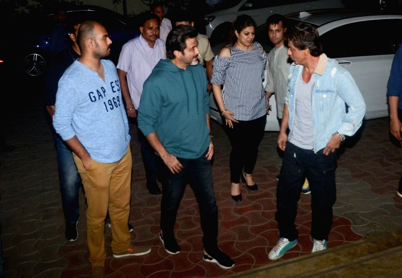 "Actors Anil Kapoor and Shah Rukh Khan at the special screening of film ""Fanney Khan"" in Mumbai. - Anil Kapoor, Shah Rukh Khan and Fanney Khan"