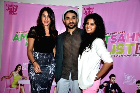 Actors Anindita Naiyar, Vir Das and Vega Tamotia during media interaction of film Amit Sahni Ki List in Mumbai on July 9, 2014. - Anindita Naiyar, Vir Das and Vega Tamotia