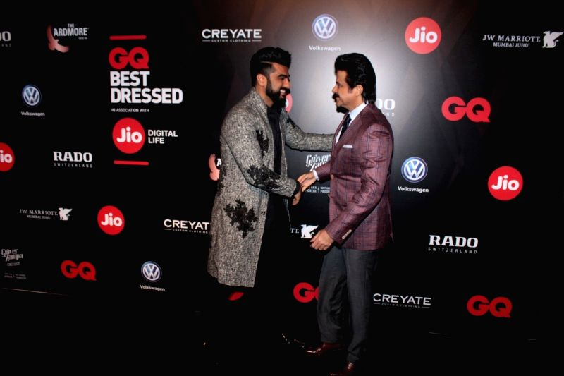 Actors Arjun Kapoor and Anil Kapoor during the GQ Best Dressed 2017 in Mumbai, on June 3, 2017. - Arjun Kapoor and Anil Kapoor