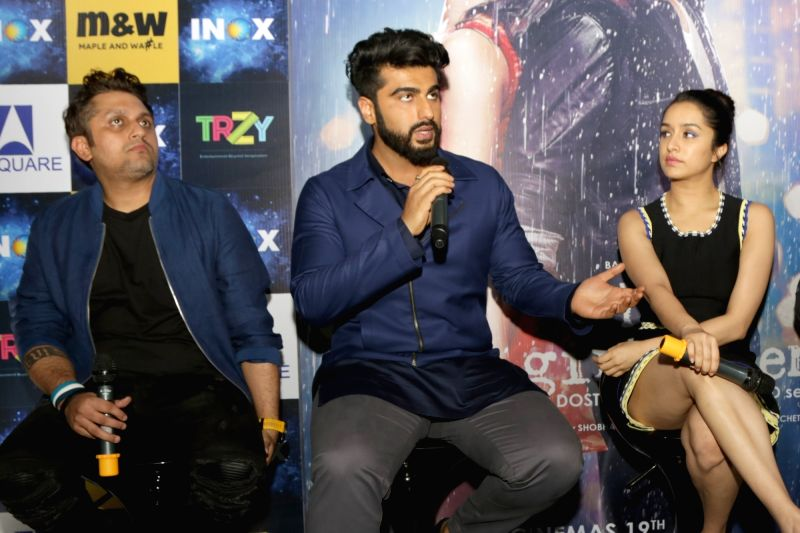 "Actors Arjun Kapoor and Shraddha Kapoor at a press meet for film ""Half Girlfriend"" in New Delhi on May 12, 2017. - Arjun Kapoor and Shraddha Kapoor"