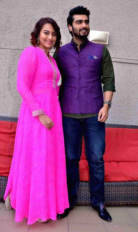 Actors Arjun Kapoor and Sonakshi Sinha during a programme organised to promote their upcoming film `Tevar` in Ahmedabad, on Dec 24, 2014.