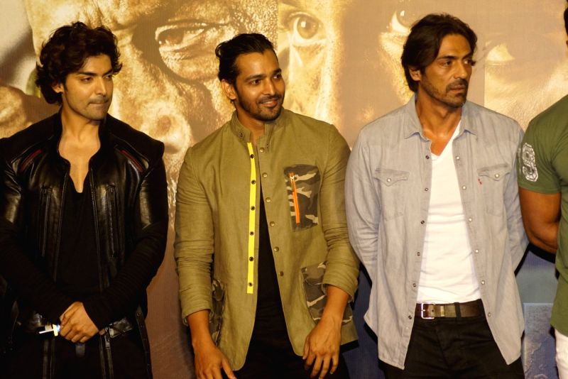 "Actors Arjun Rampal, Gurmeet Choudhary and Harshvardhan Rane at the trailer launch of upcoming film ""Paltan"" in Mumbai on Aug 2, 2018. - Arjun Rampal, Gurmeet Choudhary and Harshvardhan Rane"