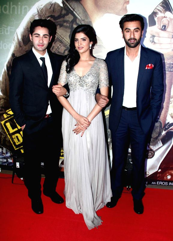 Actors Arman Jain, Deeksha Seth and Ranbir Kapoor during the premiere of film Lekar Hum Deewana Dil at PVR Cinemas in Mumbai, on July 3, 2014. - Arman Jain, Deeksha Seth and Ranbir Kapoor