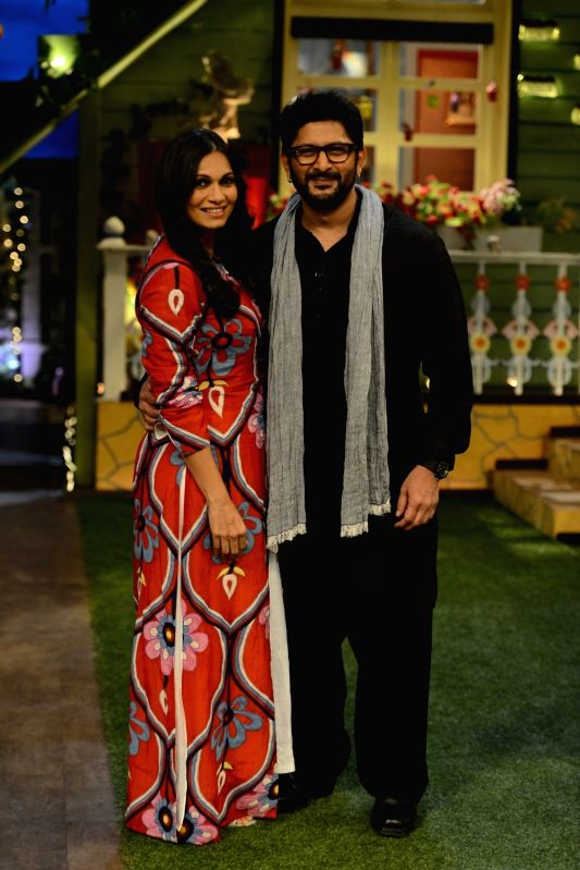 Actors Arshad Warsi with his wife Maria Goretti on the sets of The Kapil Sharma Show in Mumbai on July 25, 2016. - Arshad Warsi