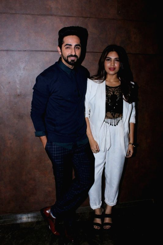 "Ayushmann Khurrana and Bhumi Pednekar during the special screening of film ""Shubh Mangal Savdhan - Ayushmann Khurrana and Bhumi Pednekar"
