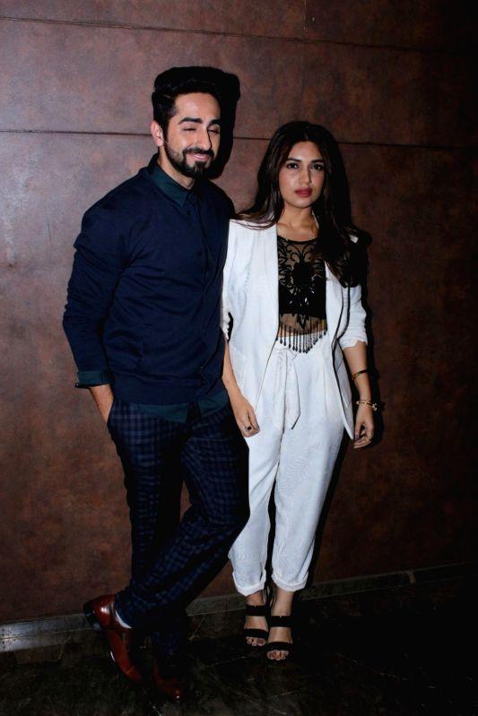 "Actors Ayushmann Khurrana and Bhumi Pednekar during the special screening of their film ""Shubh Mangal Savdhan"" in Mumbai on Aug 31,2017. - Ayushmann Khurrana and Bhumi Pednekar"