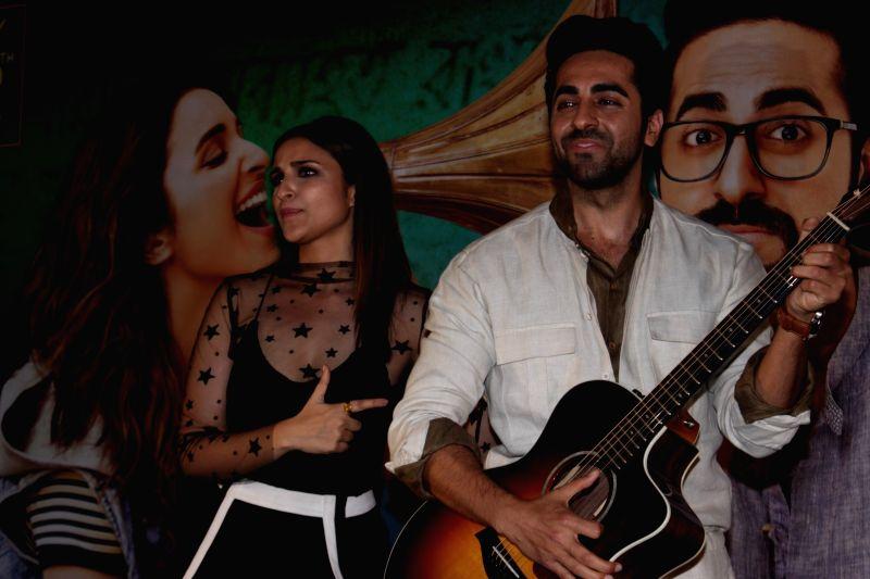 Actors Ayushmann Khurrana and Parineeti Chopra during the song launch Of film Meri Pyaari Bindu in Mumbai on April 18, 2017. - Ayushmann Khurrana and Parineeti Chopra