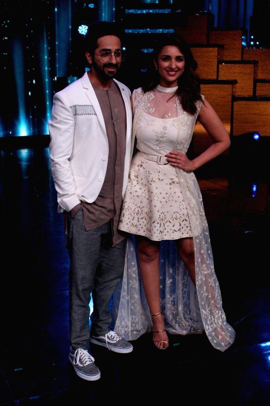 "Actors Ayushmann Khurrana and Parineeti Chopra during the promotion of upcoming film ""Meri Pyari Bindu"" on the sets of Nach Baliye Season 8 on May 2, 2017. - Ayushmann Khurrana and Parineeti Chopra"