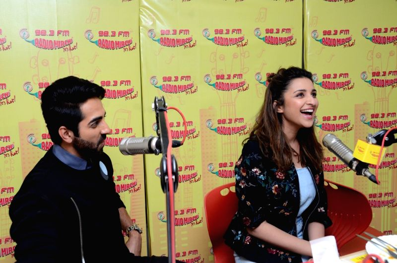 "Actors Ayushmann Khurrana and Parineeti Chopra during the promotion of upcoming film ""Meri Pyari Bindu"" at Radio Mirchi studio in Mumbai on May 3, 2017. - Ayushmann Khurrana and Parineeti Chopra"