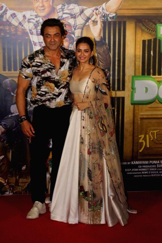 "Actors Bobby Deol and Kriti Kharbanda at the trailer launch of their upcoming film ""Yamla Pagla Deewana Phir Se"" in Mumbai on Aug 10, 2018. - Bobby Deol and Kriti Kharbanda"