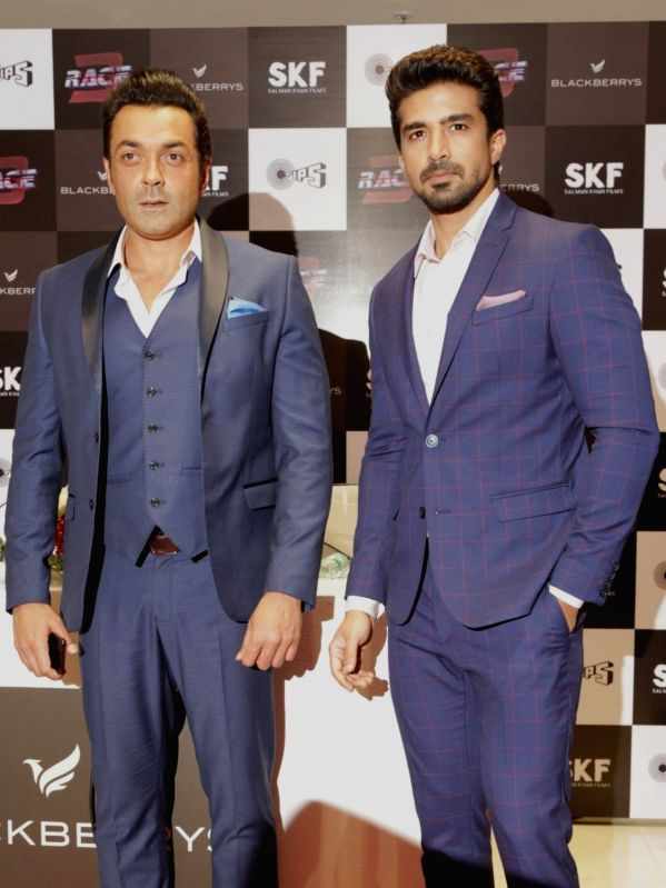 Actors Bobby Deol and Saqib Saleem at the launch of Race 3 exculsive collection by Blackberrys in Gurugram on June 7, 2018. - Bobby Deol and Saqib Saleem