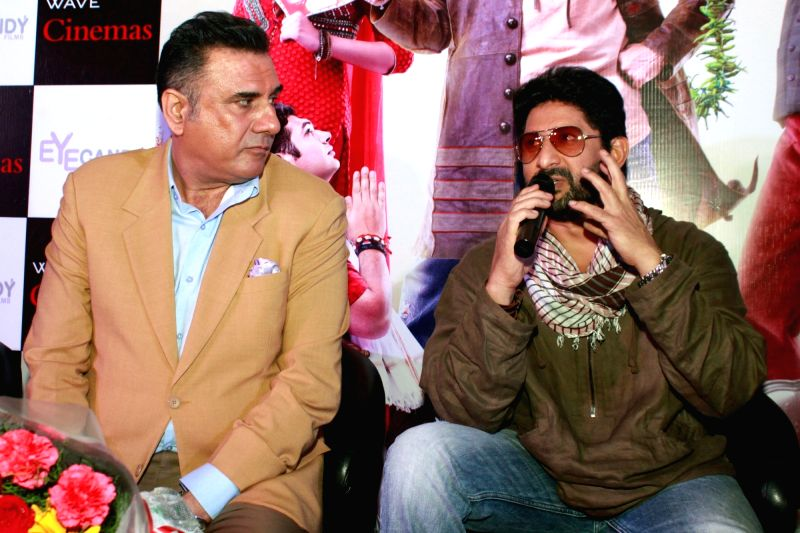 Actors Boman Irani and Arshad Warsi during the promotion of their upcoming film 'The Legend of Michael Mishra' in Noida on Aug 1, 2016. - Boman Irani, Arshad Warsi and Mishra