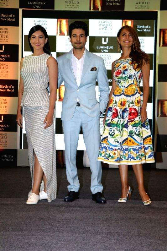 Actors Caterina Murino,Rajeev Khandelwal and Gauhar Khan during the launch of Lumineux Uno, a premium luxury metal by The Leading Jewelers of the World in Mumbai on July 27, 2016. - Caterina Murino and Gauhar Khan