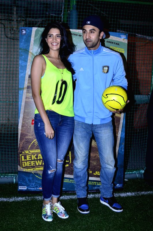 Actors Deeksha Seth and Ranbir Kapoor during the football match organised to promote the upcoming film Lekar Hum Deewana Dil in Mumbai on June 17th, 2014. - Deeksha Seth and Ranbir Kapoor