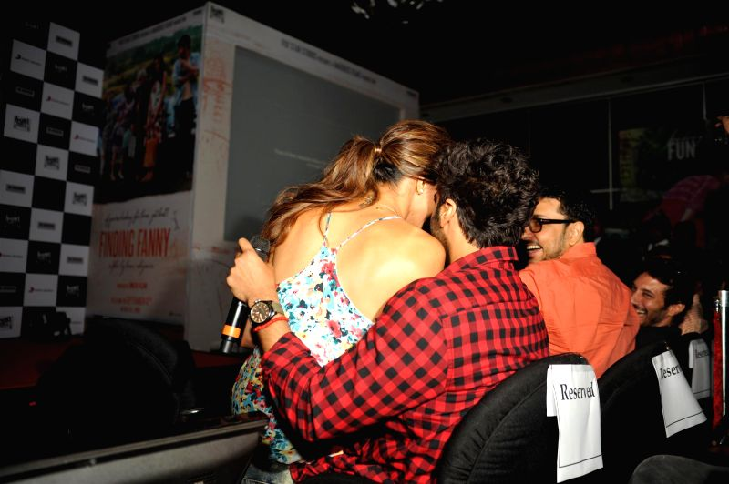 Actors Deepika Padukone and Arjun Kapoor during the song launch of film Finding Fanny in Mumbai on August 11, 2014. (IANS: Photo) - Deepika Padukone and Arjun Kapoor