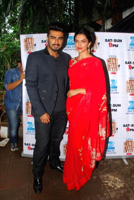 Actors Deepika Padukone and Arjun Kapoor on the sets of Zee Cine Star Ki Khoj for the promotion of the film Finding Fanny in Mumbai on Sept. 3. - Deepika Padukone and Arjun Kapoor